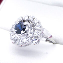 C1960 Sapphire And Diamond Cocktail Dress Ring Infinity Spiral
