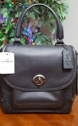 COACH F30525 FAYE BACKPACK Purse Convertible Satchel Crossbody Bag BLACK LEATHER