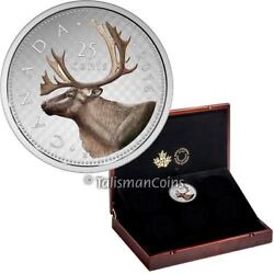 Canada 2016 Big Coins Caribou 25 Cents 5 Oz Silver In 6-coin Solid Wood Case Box