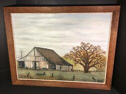 Vtg Acrylic On Canvas Wood Framed 26.5wx21l Old Grandpas Barn Painting