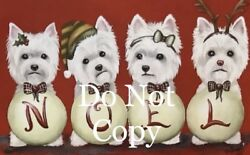 West Highland Terrier Westie PRINT Painting art Dog Set of 8 CHRISTMAS CARDS