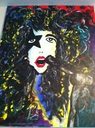 Kiss Paul Stanley Original Acrylic Painting/art Signed By The Artist Kiss Mego