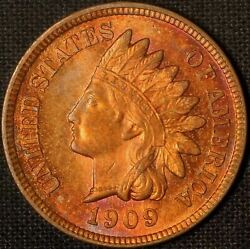 1909 Indian Head Cent - Colorful Gem - Free Shipping Usa