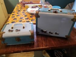 2 Vintage Scotty Scottish Terrier Suitcase Trunk Childs