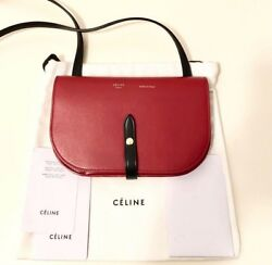 NEW CELINE Strap Clutch Crossbody Shoulder Bag in Smooth Leather - Red