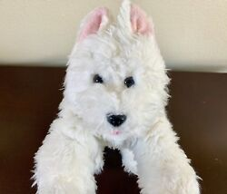 Build-A-Bear Westie White Terrier Plush Stuffed Puppy Dog Heavy Weighted paws