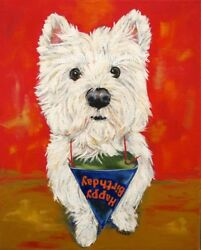 West Highland Terrier ACEO WESTIE PRINT Painting HAPPY BIRTHDAY! Dog Art RANDALL