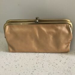 NWT Hobo International Lauren Gold Dust Leather Double Frame Clutch Wallet
