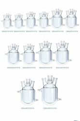 4 Necks Double Layer Jacketed Glass Lab Reaction Bottle Flask Reactor Container