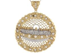 10k Or 14k Real Two Tone Gold White Cz Accent Last Supper Religious Big Pendant