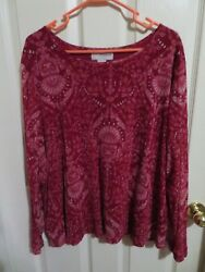 Sag Harbor Woman Red And Silver Glitter Sheer Floral Blouse Sleeves Plus Size 3x