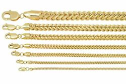 Brand New 10k Yellow Gold Franco Chain Necklace 1.5mm-6mm Sz 16 - 40
