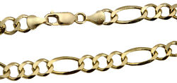 14k Solid Yellow Gold Figaro Link Chain Necklace 7mm Menand039s Women Sz 20-30