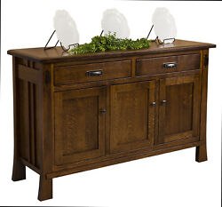 Amish Arts And Crafts Sideboard Buffet Craftsman Mission Solid Wood Grant 61