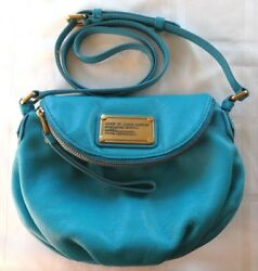 MARC JACOBS Classic Q Mini Natasha Crossbody Leather Bag Painted Teal Turquoise
