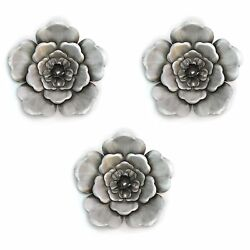 Silver Wall Flowers Set of 3 Hanging Interior Wall Art Home Decor