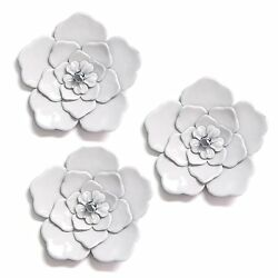 White Wall Flowers Set of 3 Hanging Interior Wall Art Home Decor