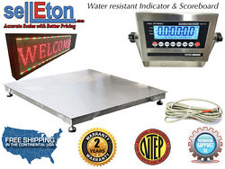 Ntep 36 X 36 3and039 Floor Scale Fixed Top Stainless Steel Scoreboard 5000 Lbs