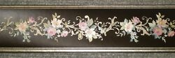 Black Satin Border with Gold Accents amp; Purple Flowers By Fine Decor B.60963