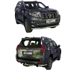 2017-2020 Prado 150 Front Rear Bumper Guard Protector Chrome Stainless Steel