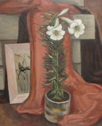 Evelynne Daily Jo Mess Still Life With Lilly Indiana Artist Oil Canvas Etching