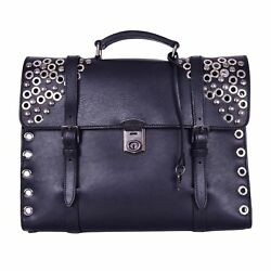 DOLCE & GABBANA Messenger Briefcase Backpack Cross Body Bag Studs Black 06430