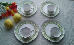 Crown Staffordshire Crs119 Footed Cup And Snack Plate - Set Of 4 - Discontinued