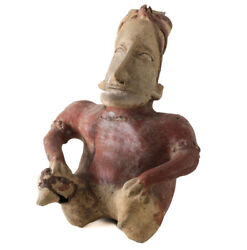 Pre-columbian Jalisco Mexico Pottery Large Seated Figure Ameca Gray Style