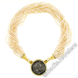 Vintage 18k Gold 16 Strand Pearl Necklace Spanish Piece Of Eight Coin Pendant