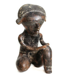 Pre-columbian Nayarit Mexico Pottery Seated Figure Chinesco Style