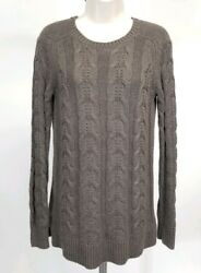Ann Taylor Loft Womens Size Small Brown Camel Wool Cable Knit Pullover Sweater