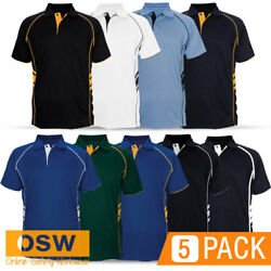 5 X Mens/womens Breathable Mini-pique Stylish Defender Staff/work/office Polos