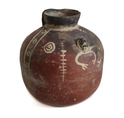 Small Pre Columbian Pottery Jug Michoacan Polished Red Slip With White Slip