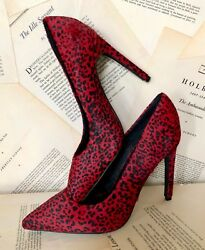 New Jeffrey Campbell Red Calf Hai Leopard Pointy Toe Pump Stiletto 6