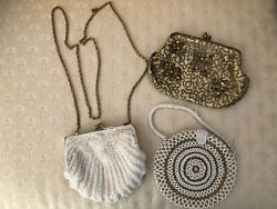 3 Vintage Beaded Sequined Evening Bags $15.00