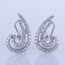 1.75 Ct 18k White Gold Fashion Earring With Mix Cut Diamond And French Backs
