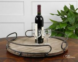 Round Wood And Metal Wine Serving Tray Bar Entertaining Rustic Farmhouse Ranch