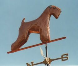 Soft Coated Wheaten Terrier Copper Hand Crafted Weathervane With Glass Eyes