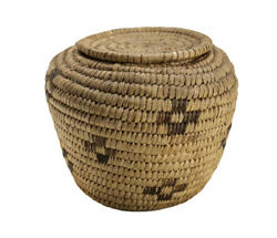 Papago Pima Native American Basket, Coiled Basket With Twisted Coil Detail