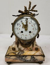 Antique French Gilt Bronze Mantle Clock Sienna Marble Just Movement