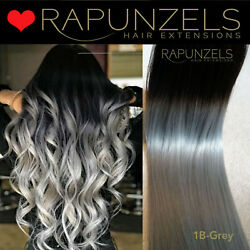 Black Ombre Weave Wefted Hair Extensions Root Fade Dip Dye Black To Grey Remy