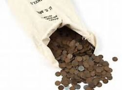 2500 Unsearched Lincoln Wheat Cents 1909-1958 Half Bag