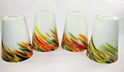 Blown Glass Shades Replacement Bohemian Hanging Lamp Sconce Set Of 4 White Color