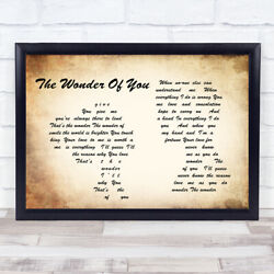 The Wonder Of You Man Lady Couple Song Lyric Quote Print