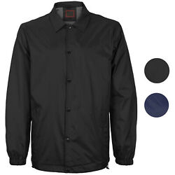 Menand039s Lightweight Water Resistant Button Up Nylon Windbreaker Coach Jacket