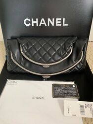 NWT Chanel Tabatiere Double Kisslock Quilted Foldover Clutch Bag Handbag $3500