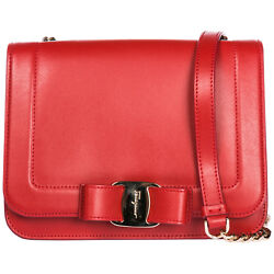 SALVATORE FERRAGAMO WOMEN'S LEATHER CROSS-BODY MESSENGER SHOULDER BAG VARA R 401