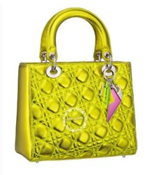 CHRISTIAN DIOR LADY NEW BAG ANSELM REYLE LIME YELLOW GOLD LEATHER LIMITED NWT