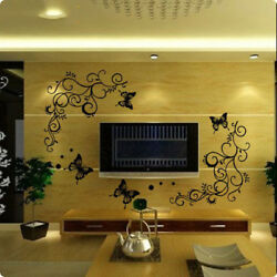 Classical Black Flower Vine Butterfly Wall Stickers Home Decor Living Room