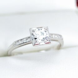 Vintage Engagement Ring In Platinum With Old European Cut Diamonds